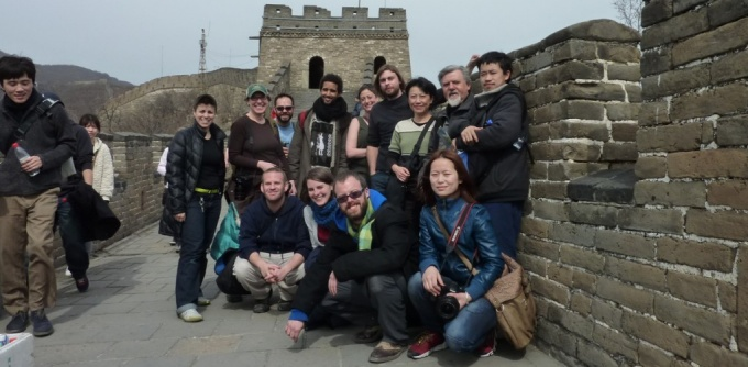 Graduate students and faculty at the Great Wall of China.