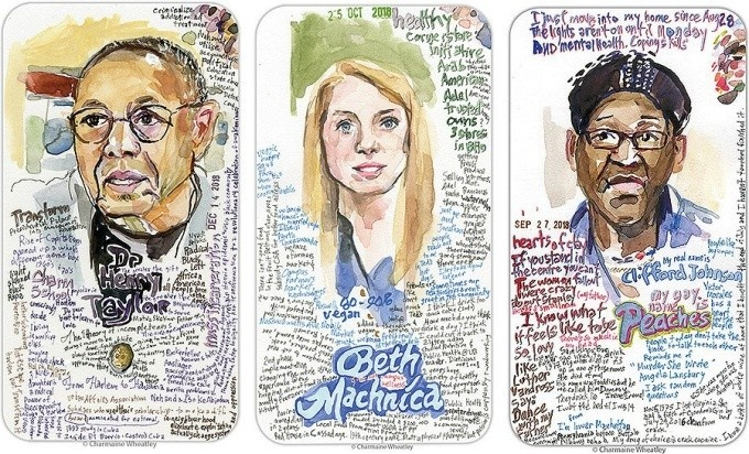 Portraits of Henry Louis Taylor Jr., Beth Machnica and Clifford Johnson by Charmaine Wheatley.
