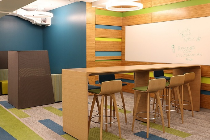The space was designed with areas for students to gather.