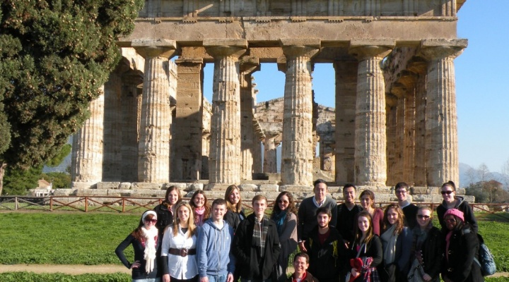 Classics students on a study abroad trip to Greece