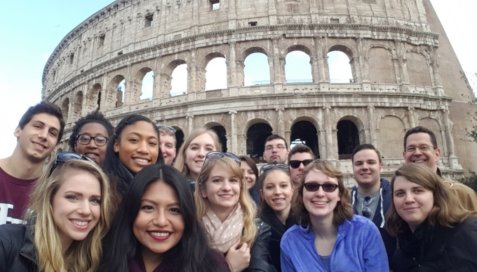 Students at the Colosseum.