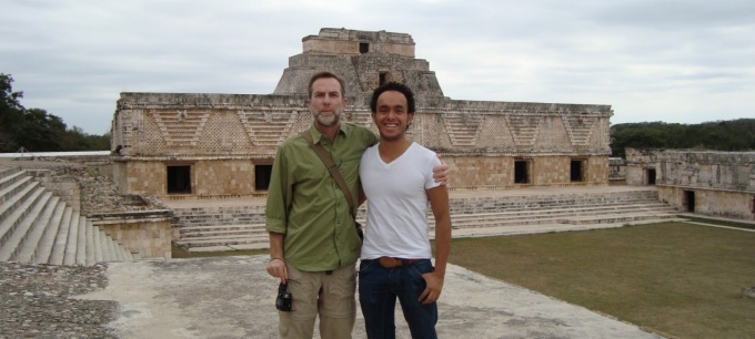 Professor David Johnson and student on Study Abroad.