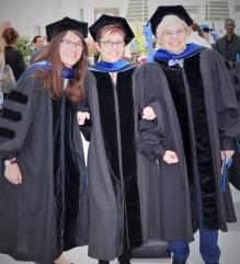 Professor Ewa Ziarek and graduates at commencement.