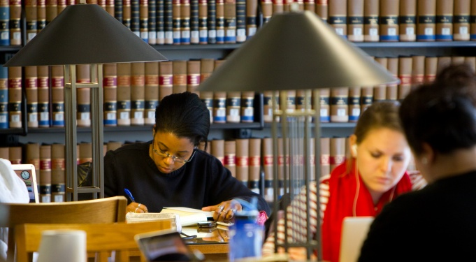 Student in UB Law Library.