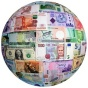 An illustration of a globe covered in world currency.