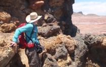 A professor surveys the landscape during Geology Field Camp.