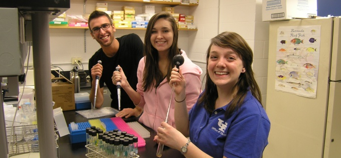 UB undergraduate geology students in the lab.