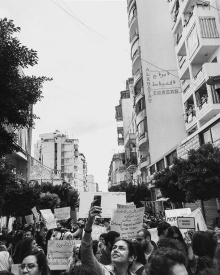 Student Gabriela at a protest in Beirut.