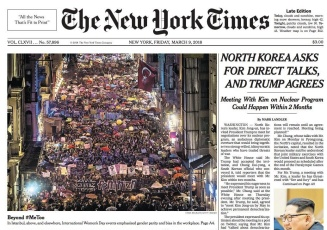New York Times cover of International Women's Day in Turkey.