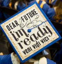 "Graduation cap reading ""Dear future, I'm ready.""."