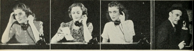 A historical series of four frames, women on telephones.