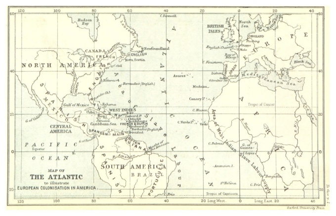 Map of the Atlantic to illustrate European colonization in America (1888)