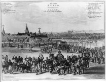 Benin City in the 17thcentury, with the Oba of Benin in procession.