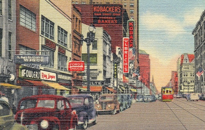 Postcard of painted streetscape from 1940s Buffalo.