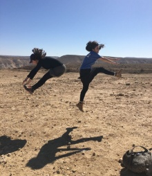 Girls jumping in Israel.