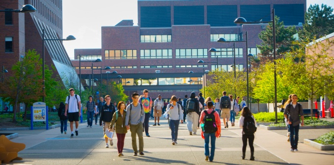Students walking on North Campus.