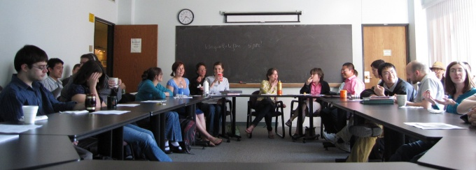 Graduate linguistics students meet on North Campus.