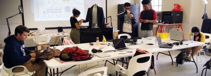 Media Study students in the Wearable Computing class working in the department's Extensible Media Lab, Crosby Hall 201.