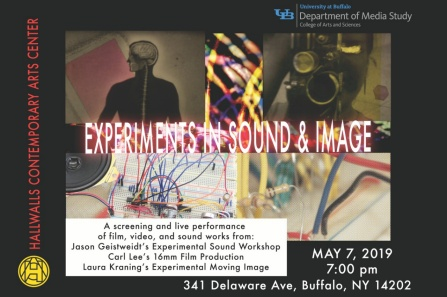 Poster image of Experiments and Sound and Image event at Hallwalls.
