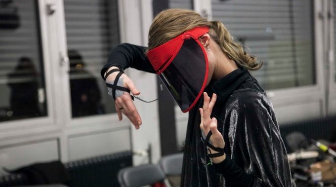 Student working with virtual reality equipment