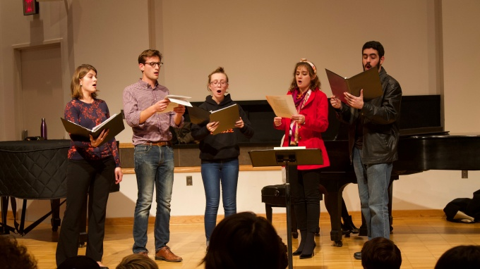 Members of the UB Choir with Professor Claudia Brown.