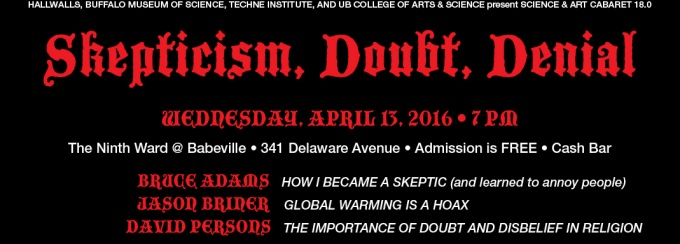 Flyer for Skepticism, Doubt and Denial event.