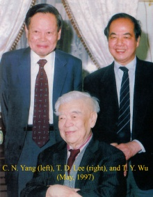 Professor Wu with former students Dr. C. N. Yang and Dr. T. D. Lee.