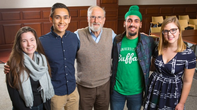 SUNY Distinguished Service Professor Claude Welch and students.