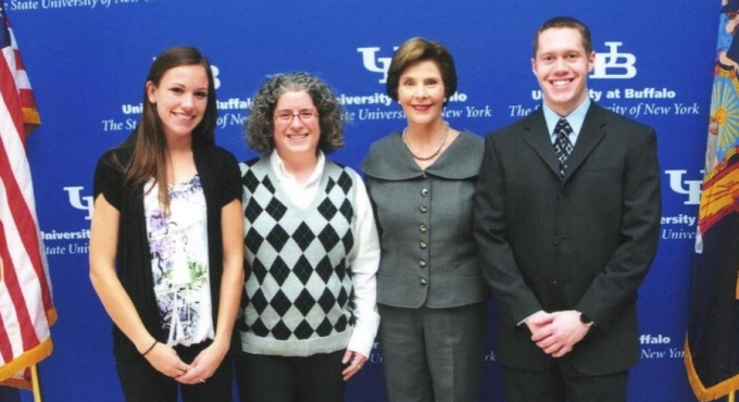 Graduate students meet Laura Bush.