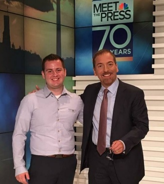 Gunnar Haberl with Chuck Todd at a taping of Meet the Press.