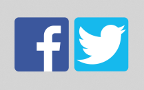 Facebook and Twitter icons.