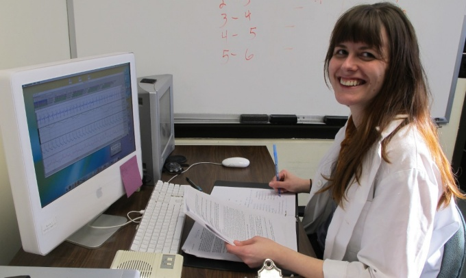 MA student Tracy Radsvick in the Social Psychophysiology Lab.
