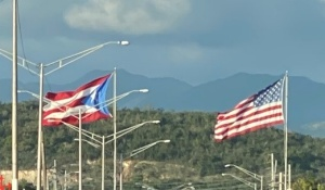 Puerto Rican and US flags.