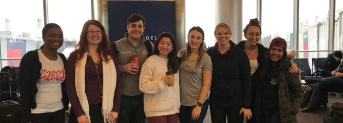 RLL PhD candidate Dijana Savija (4th from right), translator, and UB Law School team members leave for Dilley, Texas to provide legal services to asylum seekers under the auspices of the US-Mexico Border Law Clinic.
