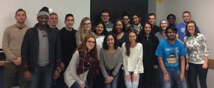 TA Ashley Byczkowksi (first row right) and her Fall 2017 French 213 class.