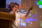 Artist Shantell Martin giving an artist's talk at the Center for the Arts (Photographer: Douglas Levere)