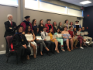 Spanish faculty, instructors and graduates. Standing, L to R: Jorge Guitart, David Castillo, Stephanie Schmidt, Nicole Sedor, Elizabeth Scarlett, Sharonah Fredrick, Joelle Carota, Henry Berlin, Colleen Culleton, Justin Read. Seated, L to R: Niomarie Rivera, Cristina Mata, Anthony Malloni, Eunice Mack, Destiny Diaz, Kayleigh Brandstetter, Dominic Difiglia, Karishma Khemraj, Bailey Radel, Gabriel Sturdivant.