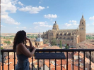 Thalia Shatah overlooks the Torre Catedral Salamanca