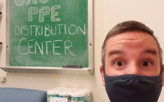 Brian Swartz, director of facilities and space planning, works to help keep the College community safe by coordinating PPE distribution efforts.