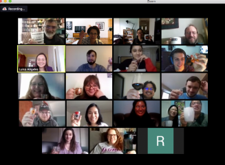 Screenshot of Zoom participants giving cheers to Luisa after defending her thesis.