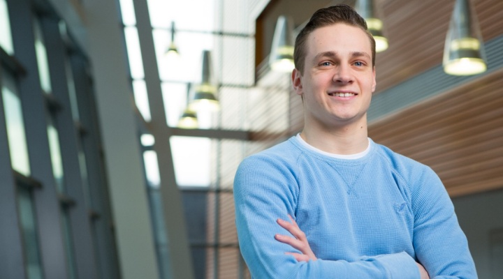 Economics student Sean Kaczmarek in Davis Hall.