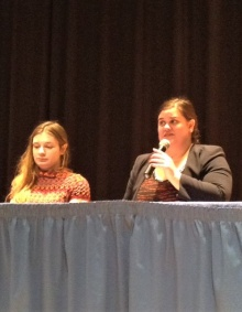 Hilary (right) with GGSs undergraduate student MacKenzie Hafner at the 2017 International Women's Day panel. .