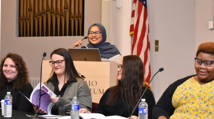 Gender studies students present policy recommendations at Buffalo History Museum.