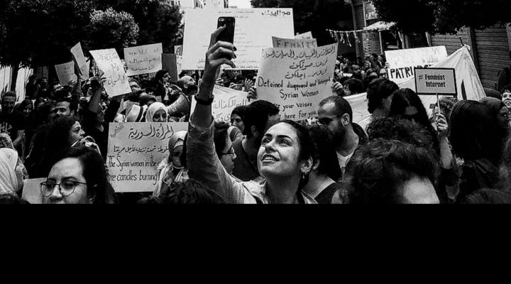 Gabriella Nassif at a protest in Beirut.