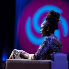 UB English professor Nnedi Okorafor giving a TED Talk.