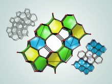 Three diagrams showing the molecular structures of new carbon forms.