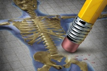 An illustration of a pencil eraser against a skeleton.