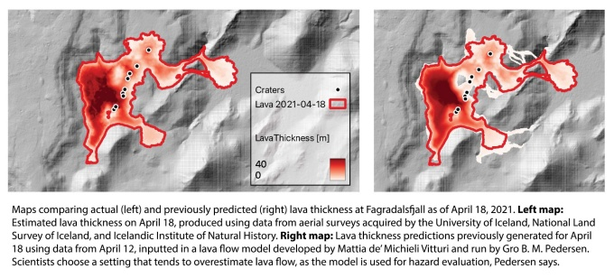 Two maps, one showing the actual estimated lava thickness for April 18, 2021 at the eruption site, and the other showing previously modeled lava thickness for the same day. The two maps match up fairly well, with the model overshooting in places.