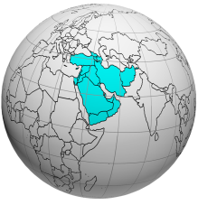 A globe with the region of Western Asia highlighted .