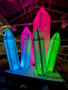 Student exhibit featuring crystal-like structures from the 2020 Lumagination event at the Botanical Gardens.